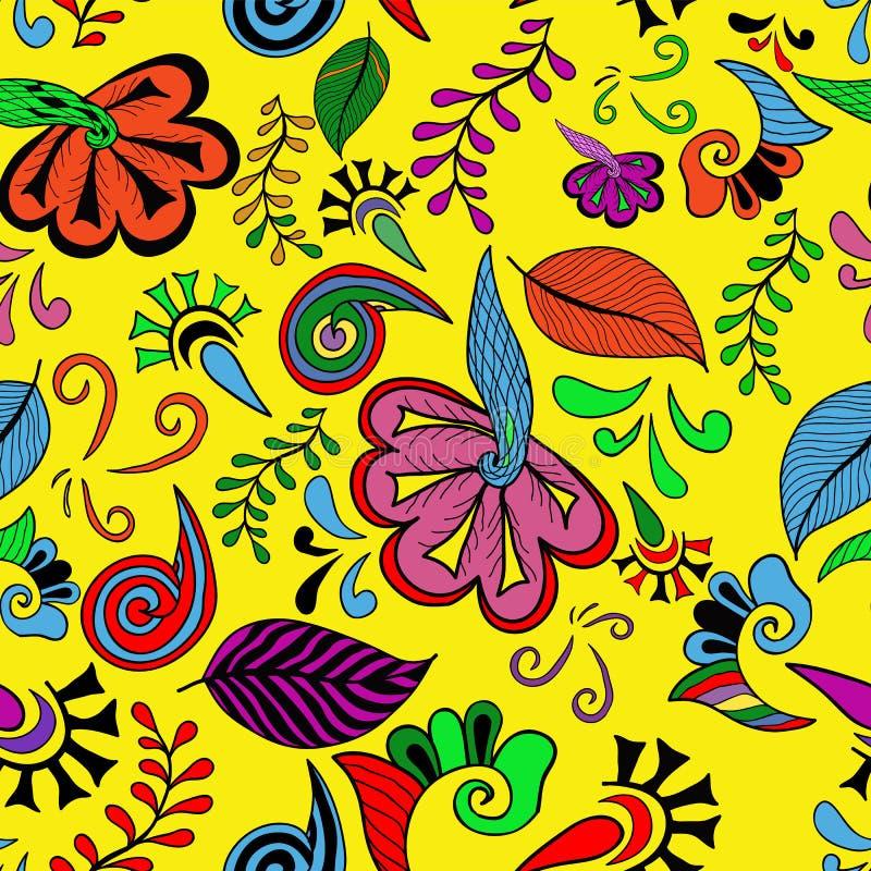 无缝五颜六色的花 免版税库存照片