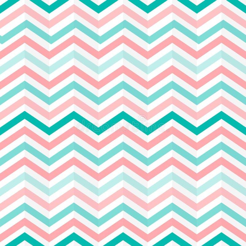 无缝交织绿色,桃红色和白色之字形条纹仿造 向量例证