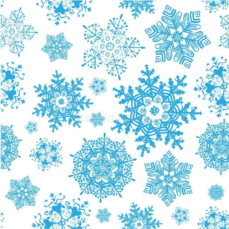 无缝传染媒介冬天雪花蓝色的圣诞节 皇族释放例证
