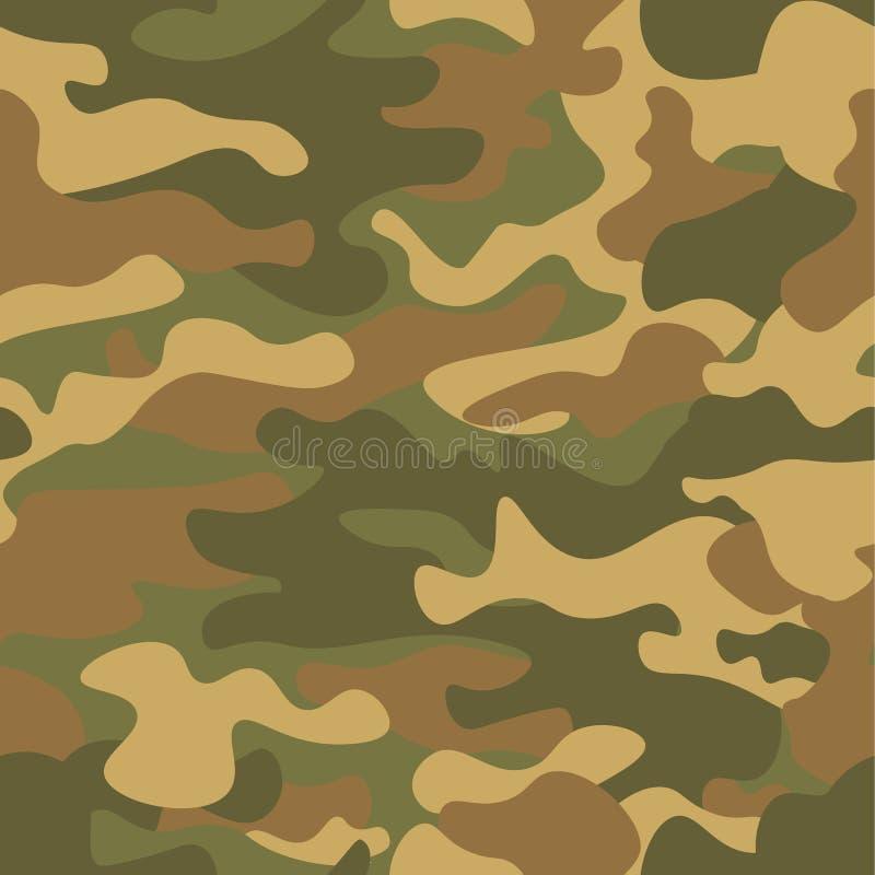 无缝伪装的模式 卡其色的纹理,传染媒介例证 卡莫印刷品背景 抽象军事样式背景 库存例证