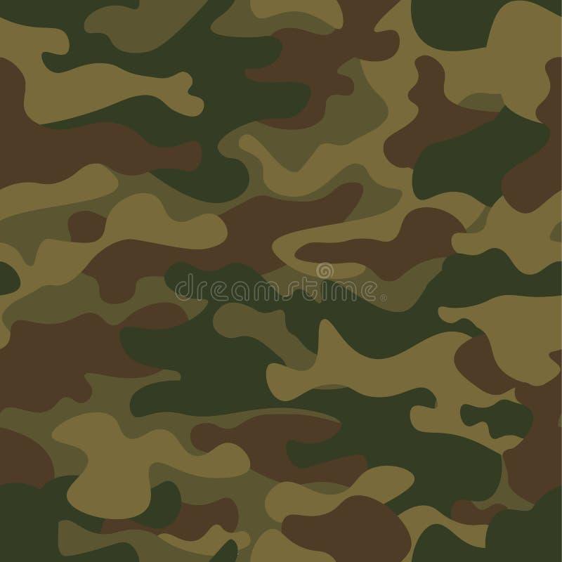 无缝伪装的模式 卡其色的纹理,传染媒介例证 卡莫印刷品背景 抽象军事样式背景 库存照片