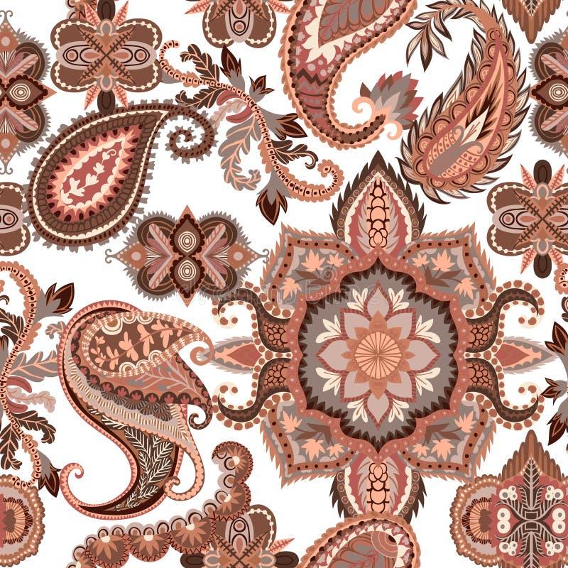 无缝佩兹利的模式 五颜六色的花饰 设计东方人 库存例证
