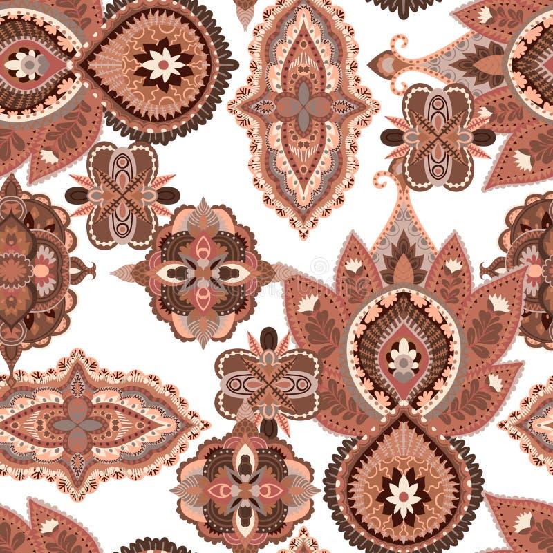 无缝佩兹利的模式 五颜六色的花饰 设计东方人 皇族释放例证