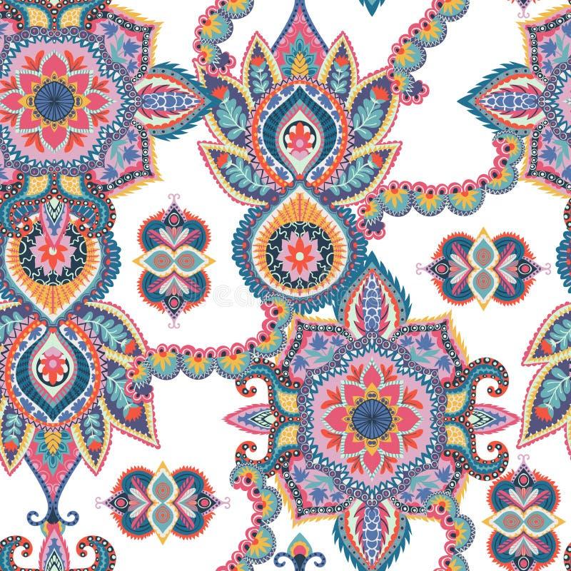无缝佩兹利的模式 织品的,印刷品,包装纸,卡片,邀请,墙纸东方设计 皇族释放例证