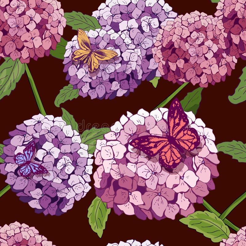无缝八仙花属的模式 导航与花的手拉的纹理,蝴蝶 重复墙纸的植物学 桃红色 模板盖子 向量例证
