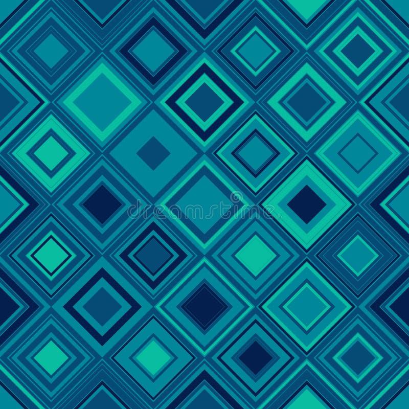 无缝几何的模式 与正方形水色的样式的墙纸 背景介绍,与几何的织品 皇族释放例证