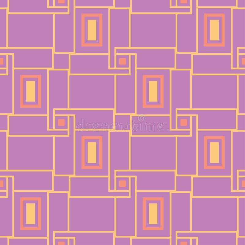 无缝几何的模式 明亮的色的紫罗兰色背景 库存例证