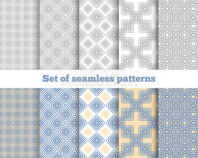 无缝几何的模式 灰色,蓝色,黄色 皇族释放例证