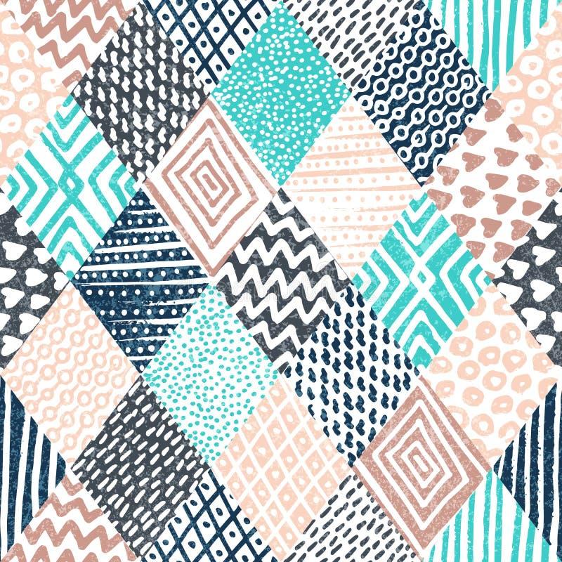 无缝几何的模式 用手被画的葡萄酒装饰品 蓝色 库存例证