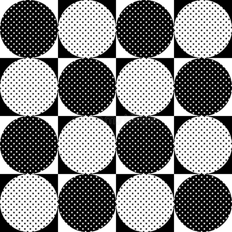 无缝几何的模式 黑白圈子圆点 向量 皇族释放例证