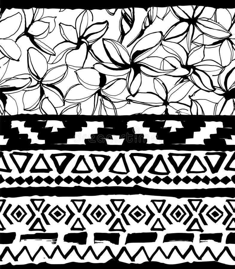 无缝几何的模式 种族阿兹台克热带部族花卉花背景 皇族释放例证