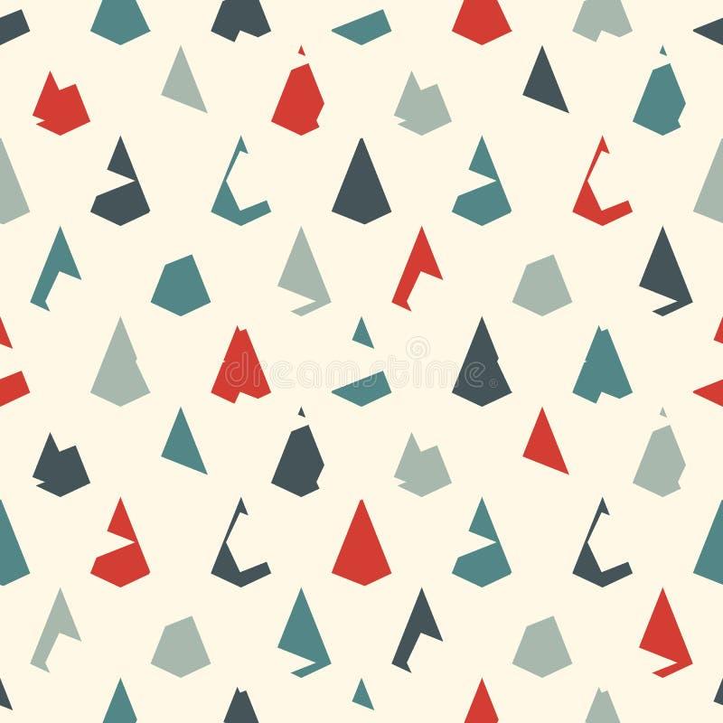 无缝几何的模式 重复的微型三角 难看的东西标度或扇贝纹理 风筝形状 破旧的数字式纸 库存例证