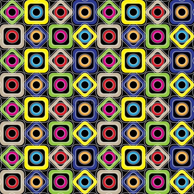 无缝几何的模式 金刚石,圈子,与圆角落的正方形在黑背景 向量 库存例证