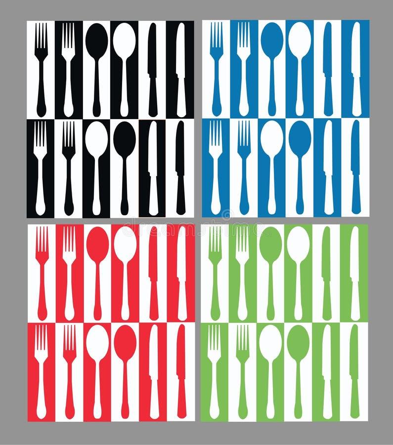 无缝刀叉餐具的模式 库存例证