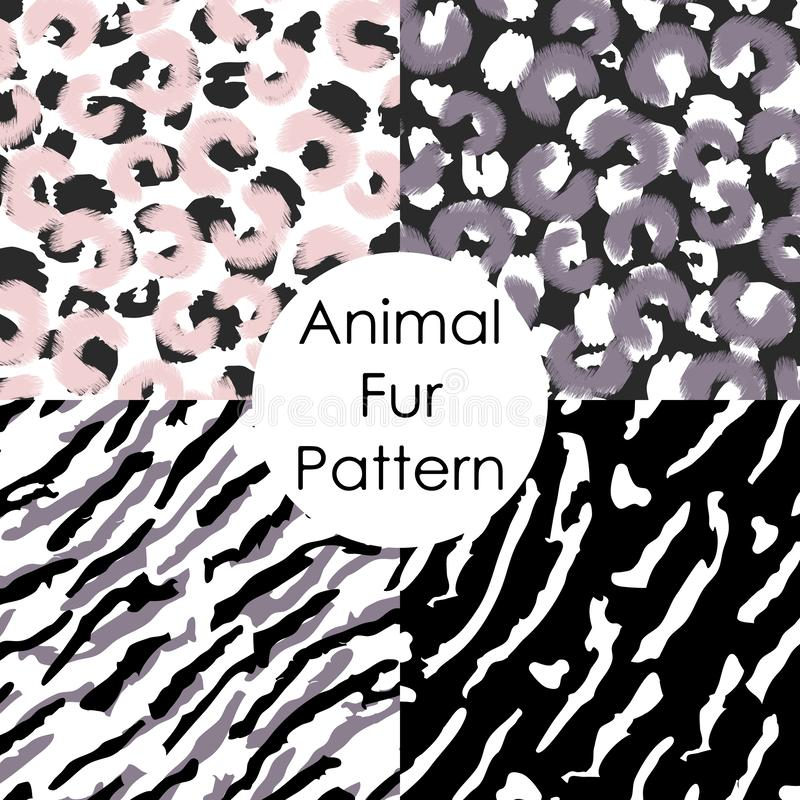 无缝动物毛皮的模式 豹子,老虎,irbis抽象皮肤墙纸 库存例证