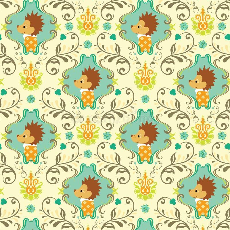 无缝动物花卉i的模式 皇族释放例证