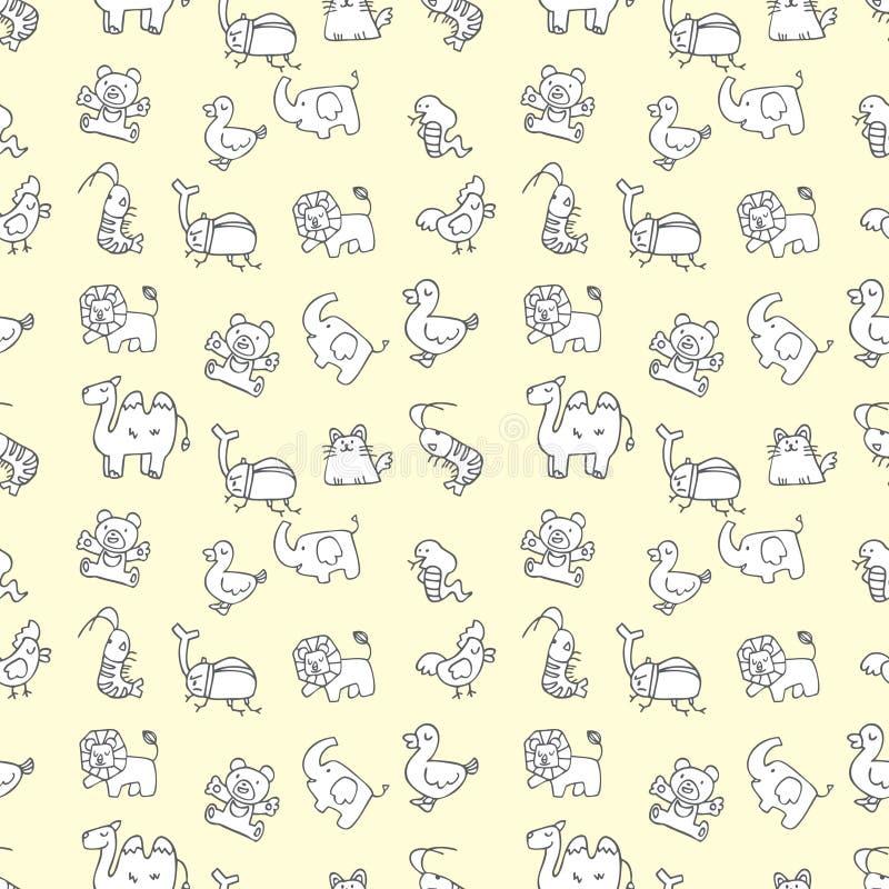 无缝动物逗人喜爱的模式 库存例证