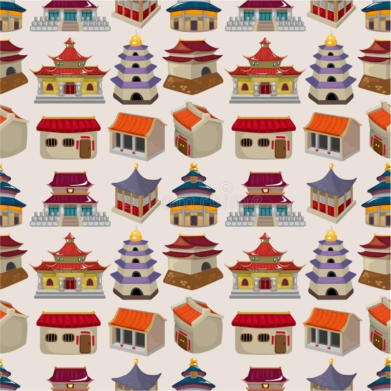无缝动画片中国房子的模式 皇族释放例证
