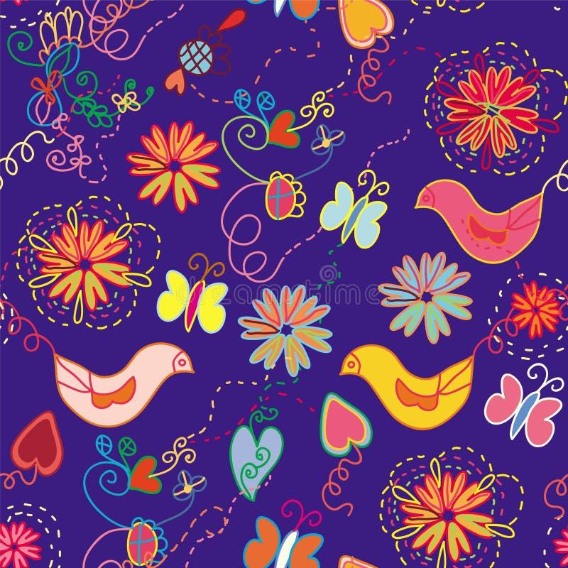 无缝动画片花卉华丽的模式 皇族释放例证