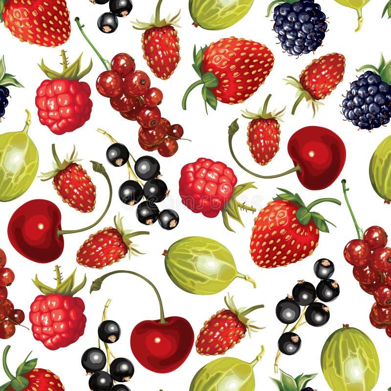 无缝动画片成熟莓果的样式 向量例证