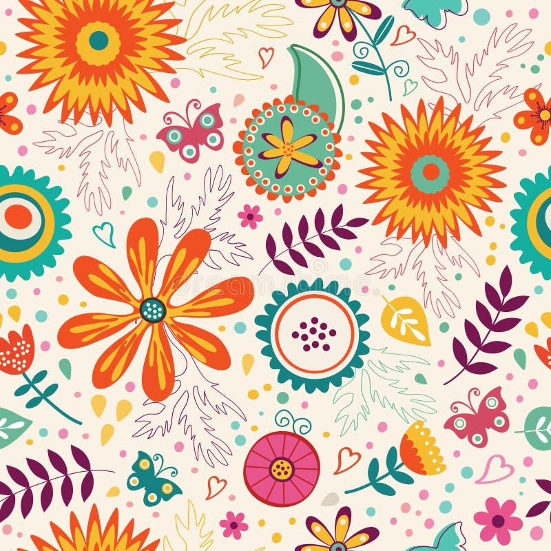 无缝可用的美好的eps花卉格式的模式 向量 皇族释放例证