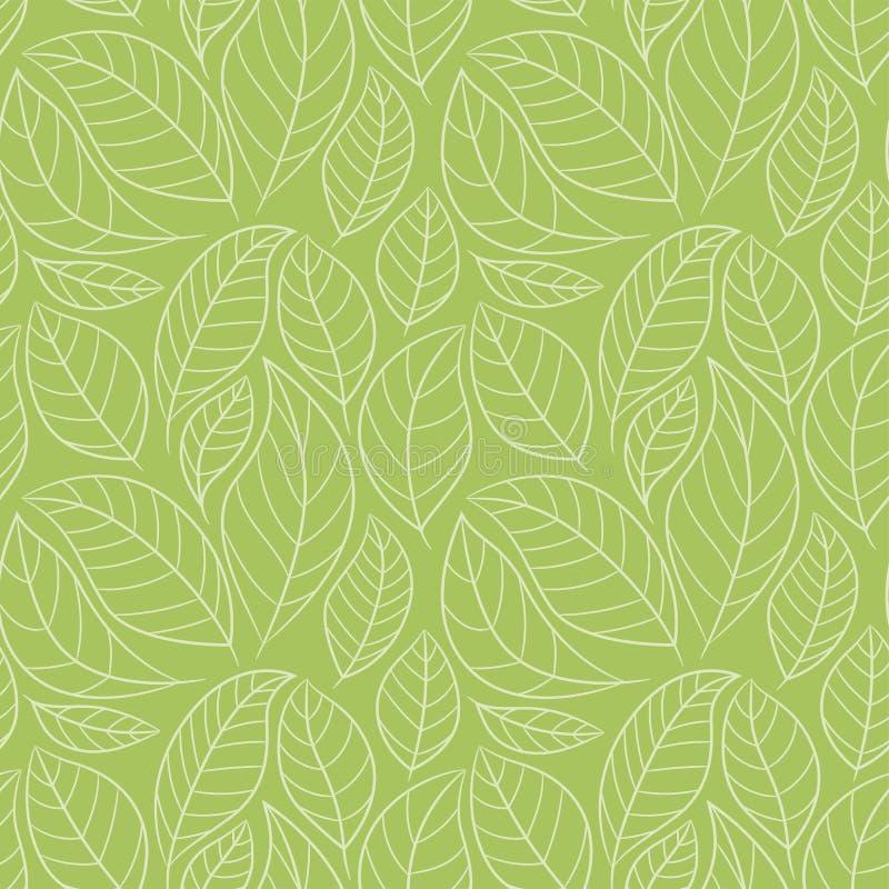无缝叶子的模式 与叶子的抽象花卉背景 绿色 库存例证