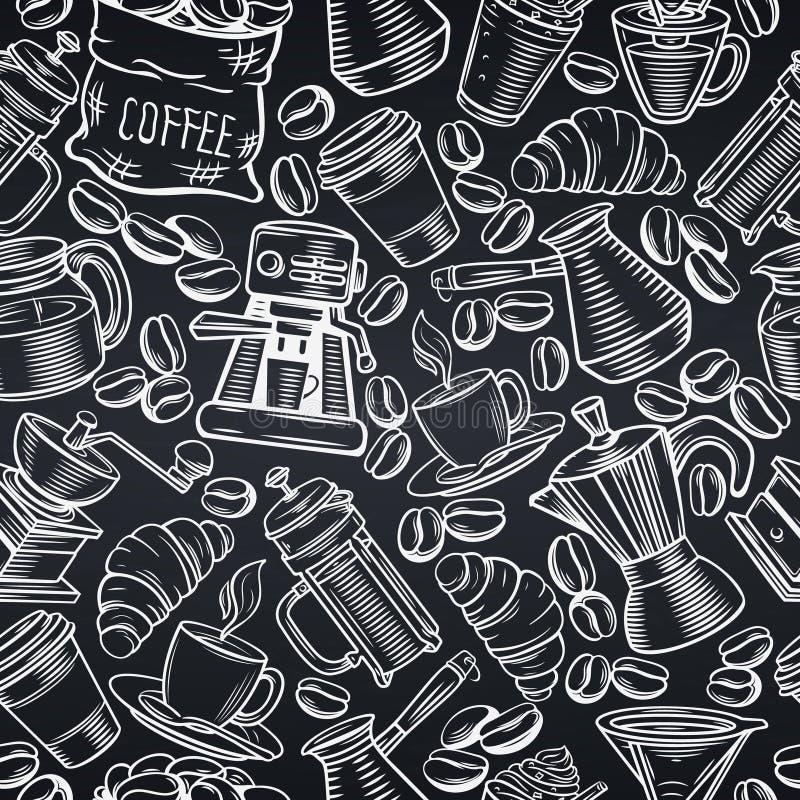 无缝咖啡的模式 库存例证