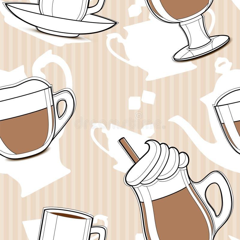 无缝咖啡的模式 向量例证