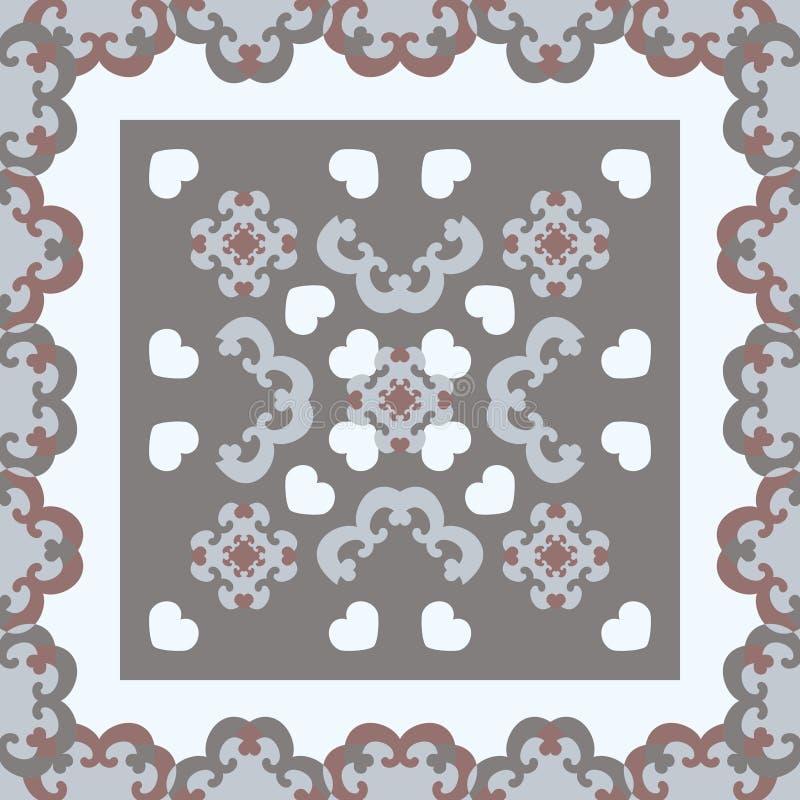 无缝图案 有心的花式框架 白色、灰色、浅蓝色和勃艮第色 矢量 库存图片