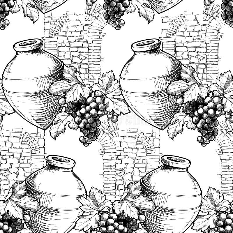 无缝图案 格鲁吉亚传统葡萄园,具有克韦夫里、葡萄藤和石墙纹理 库存图片