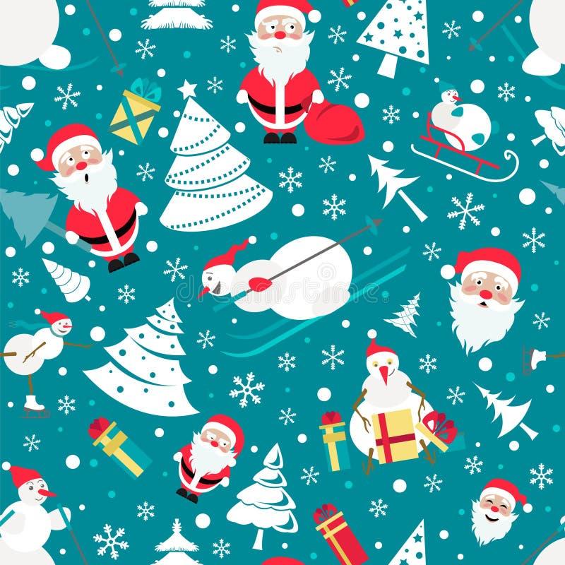 无缝圣诞节的模式 与圣诞老人的颜色平的设计 向量例证