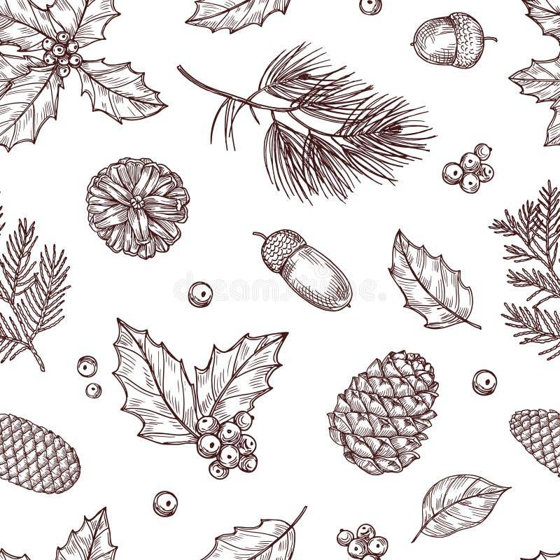 无缝圣诞节的模式 冬天与杉木锥体的冷杉和杉木分支 葡萄酒在传统的传染媒介墙纸 库存例证