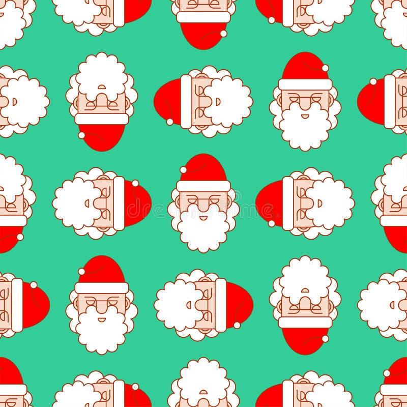 无缝圣诞节的模式 圣诞老人装饰品 新年传染媒介后面 库存例证