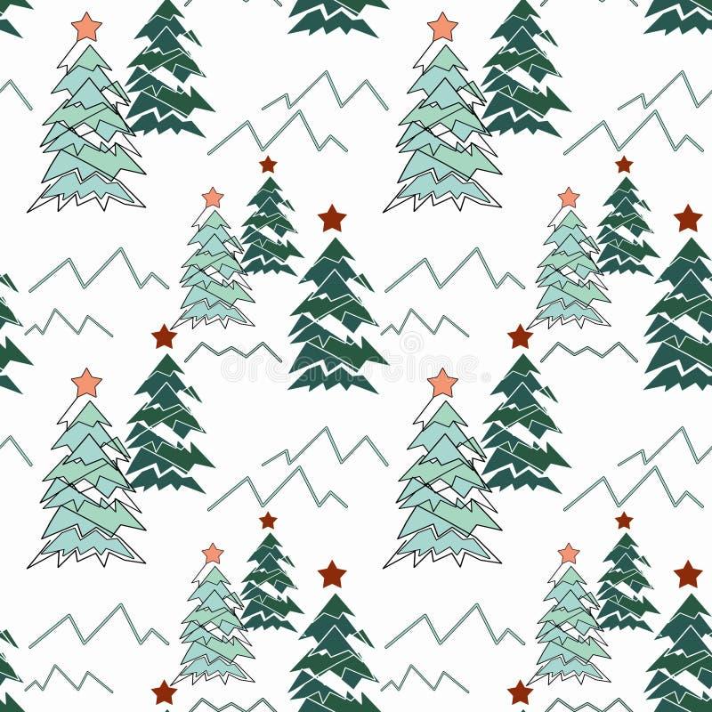 无缝圣诞节的模式 在白色背景的风格化圣诞树 皇族释放例证