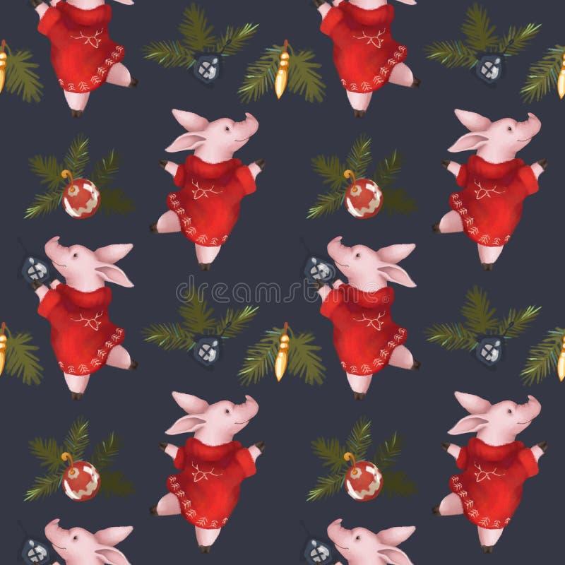 无缝圣诞节的模式 年2019年猪的标志 新年` s集合 在一个深蓝背景 库存图片