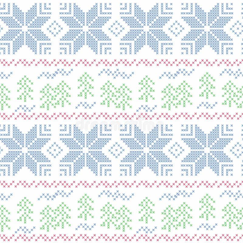 无缝圣诞节的模式 跨缝 库存例证