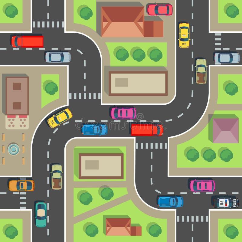 无缝城市的映射 顶视图大厦和街道有汽车和卡车的 都市计划传染媒介不尽的纹理 库存例证