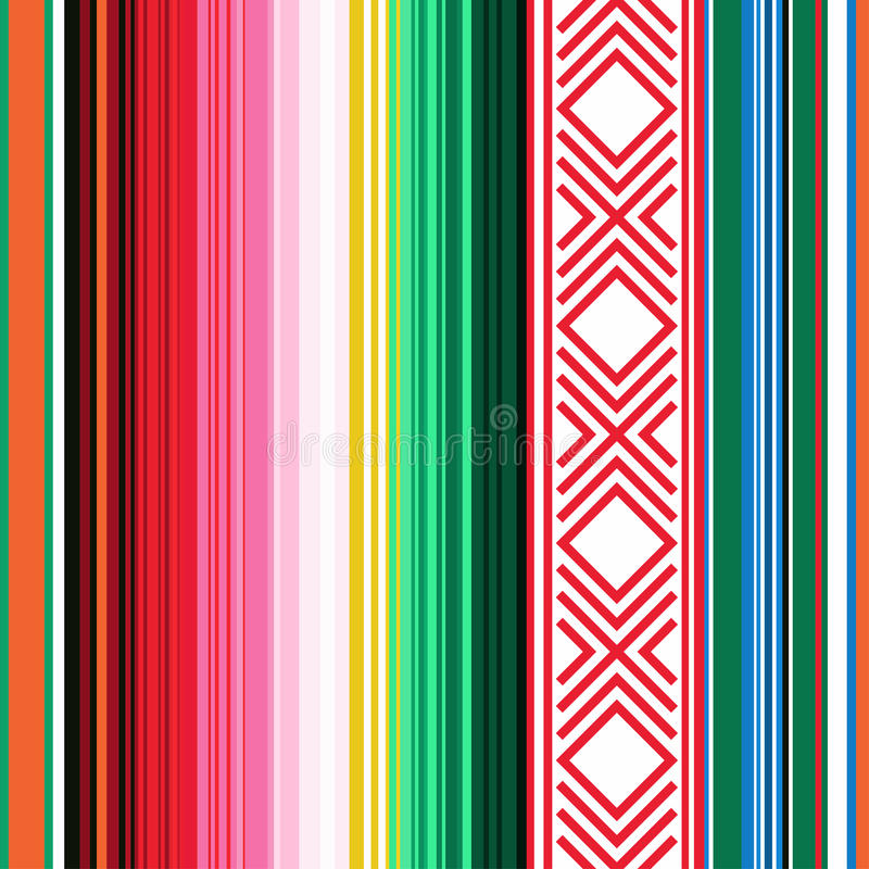 无缝墨西哥的模式 与装饰品的镶边纹理格子花呢披肩的,毯子,地毯 装饰的背景 皇族释放例证