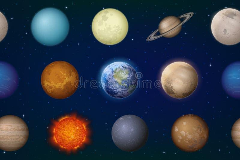 无缝太阳系的行星 库存例证