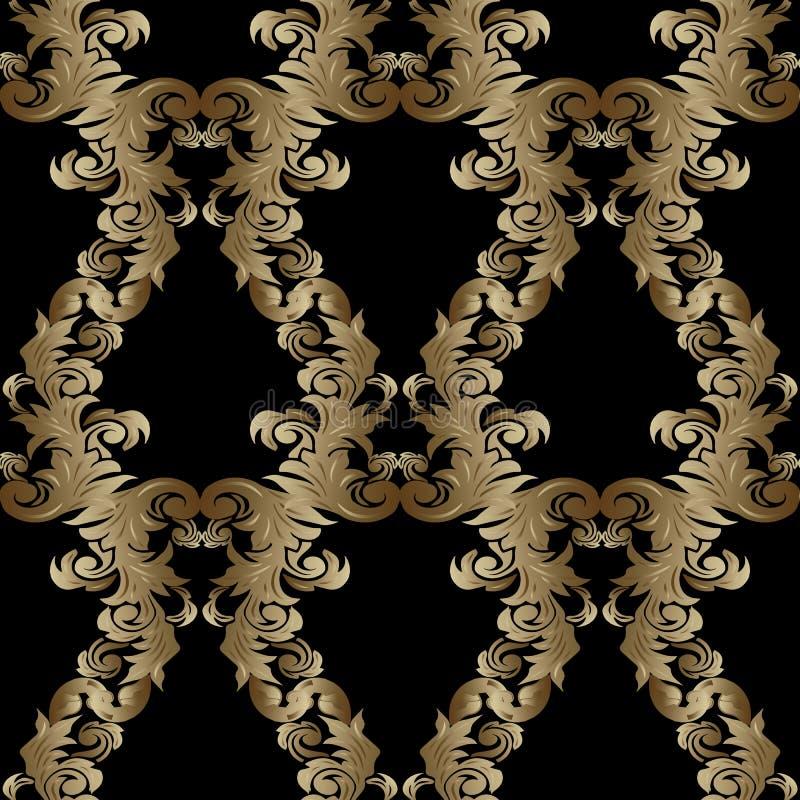 无缝巴洛克式的模式 花卉传染媒介黑色背景wallpap 皇族释放例证