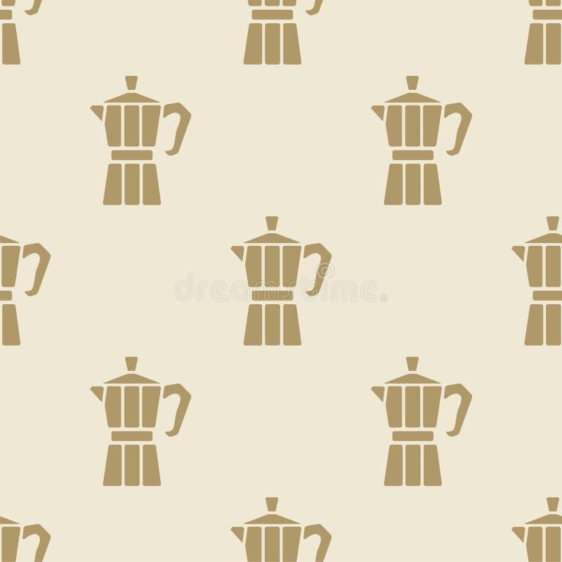 无缝意大利咖啡壶moca样式瓦片的背景 皇族释放例证