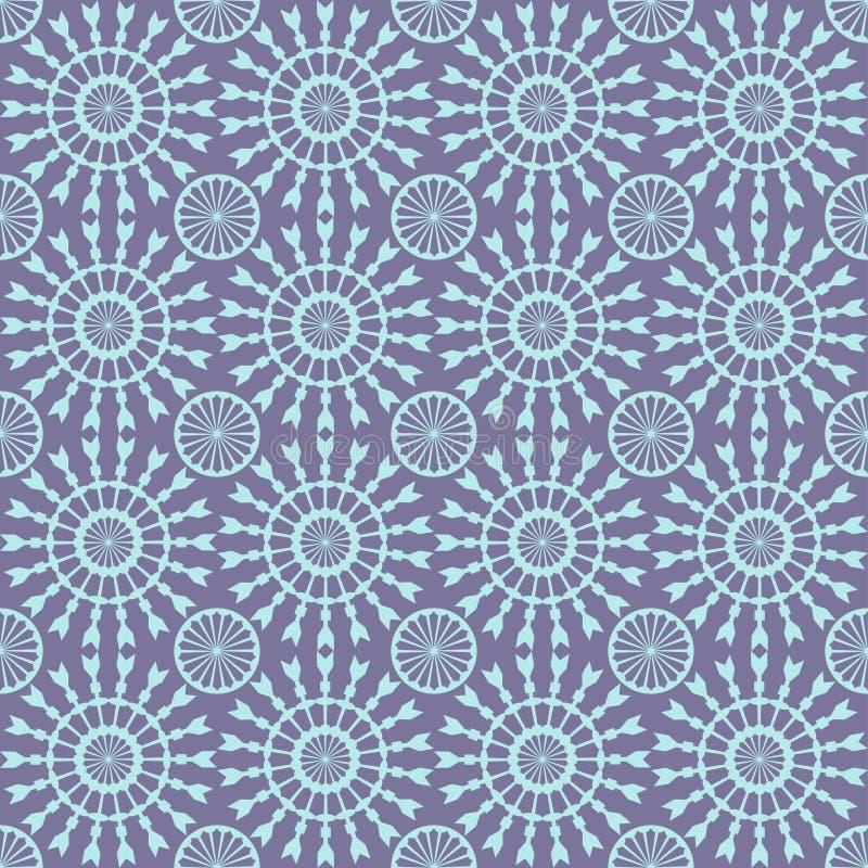 无缝抽象几何的模式 与圈子和线的蓝色样式样式 皇族释放例证