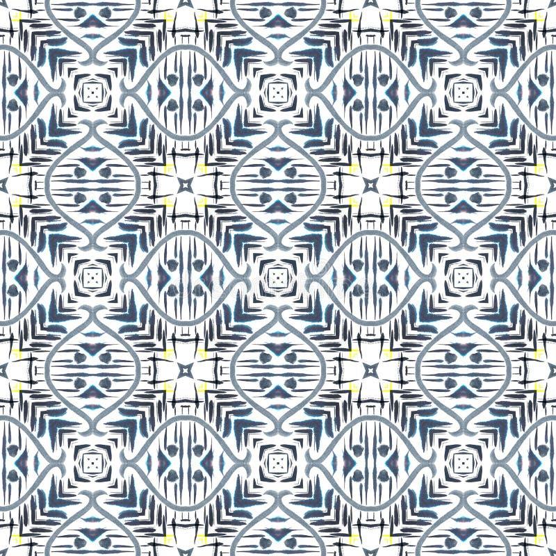 无缝抽象几何的模式 与水彩画笔冲程和污点的背景 万花筒 库存例证