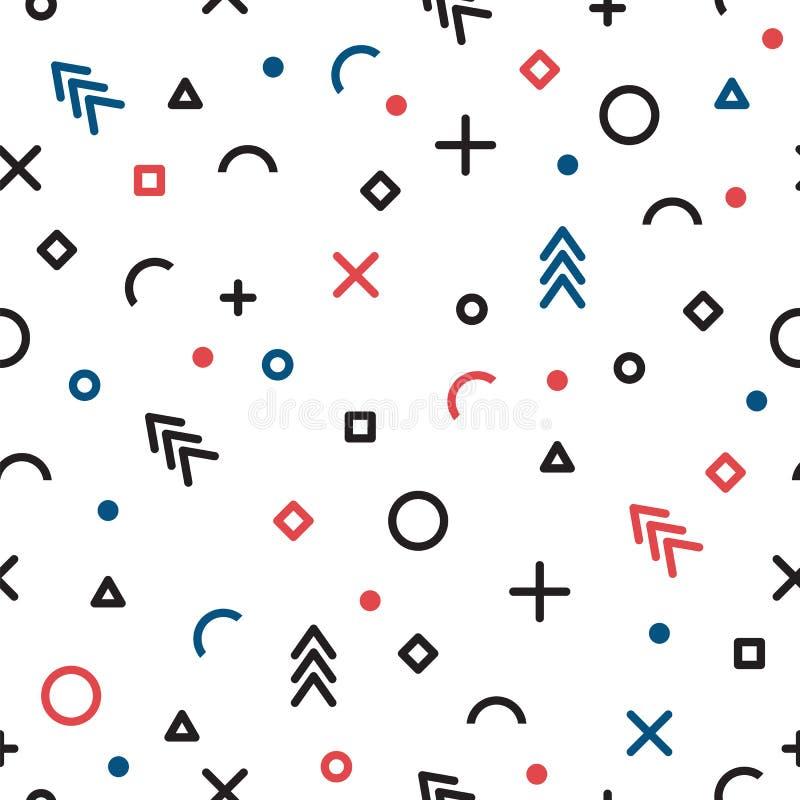 无缝抽象几何的模式 孟菲斯样式 时尚种族背景 库存例证