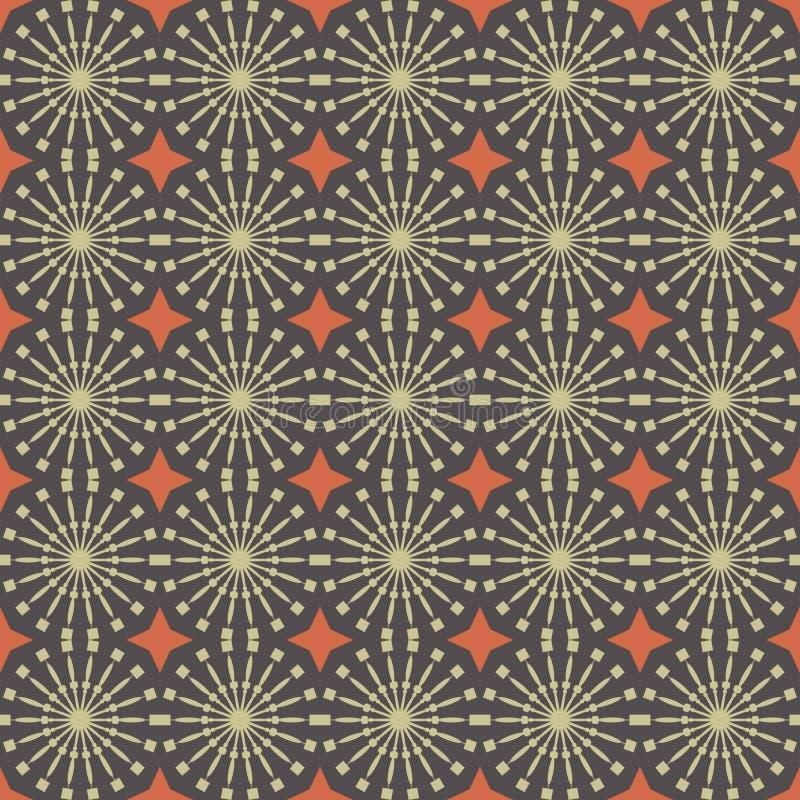 无缝抽象几何的模式 布朗与圈子和线的样式样式 库存例证