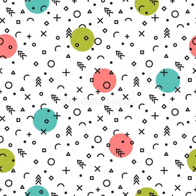 无缝抽象几何的模式 时尚种族背景 孟菲斯样式 向量例证
