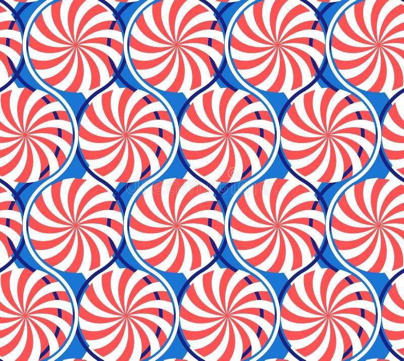 无缝抽象几何的模式 波浪、射线和螺旋 向量例证