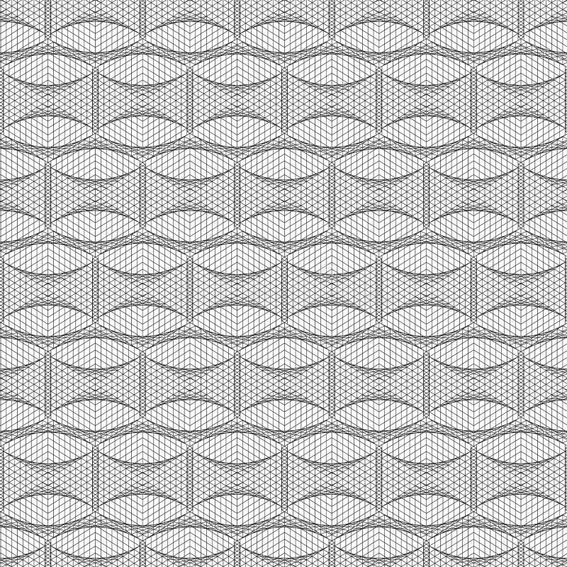 无缝抽象几何的模式 黑色白色 向量例证