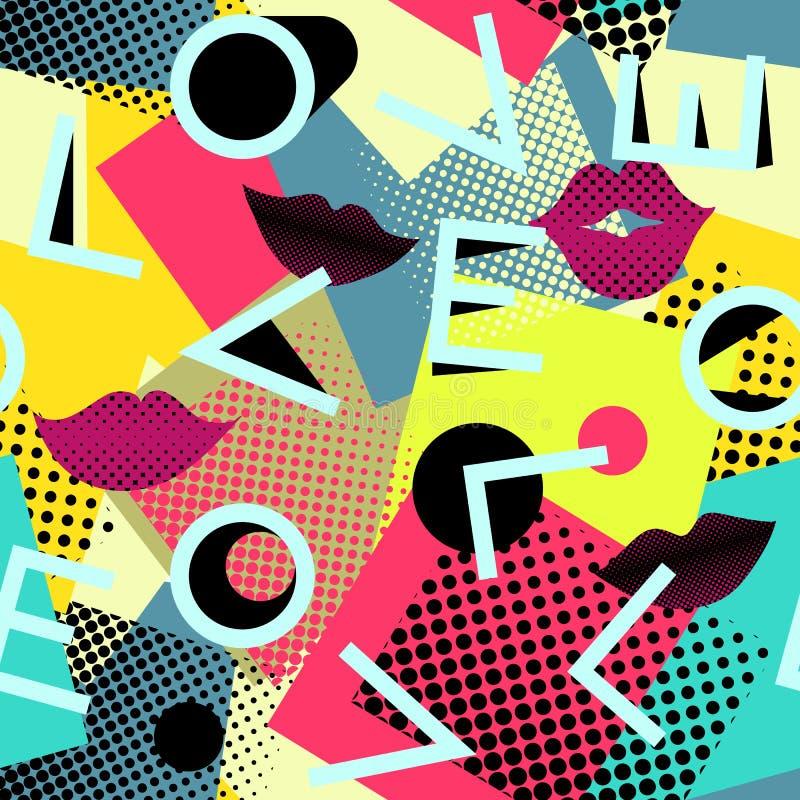 无缝抽象的模式 信件爱几何背景 向量例证