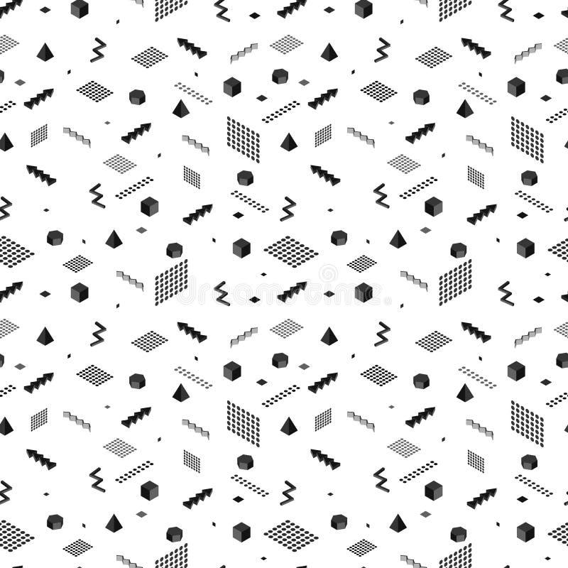 无缝抽象的模式 几何isometry 黑颜色 皇族释放例证